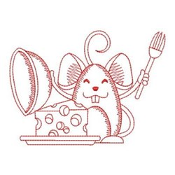 Redwork Mouse & Cheese embroidery design