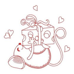 Redwork Mouse & Cheese Love embroidery design