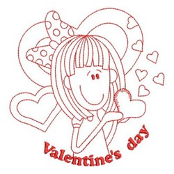 Redwork Girl Valentine Embroidery Designs Machine