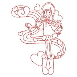 Redwork Valentine Girl Embroidery Designs Machine
