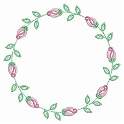 Rose Bud Wreath embroidery design