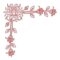 Corner Chrysanthemum embroidery design