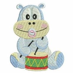 Drum Hippo embroidery design