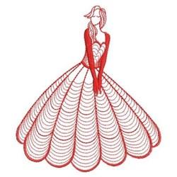 Redwork Rippled Belle embroidery design