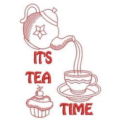 Redwork Tea Time embroidery design