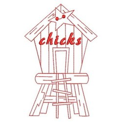 Redwork Chicks Birdhouse embroidery design