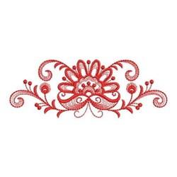 Redwork Jacobean Flower Border embroidery design