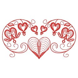 Redwork Floral Hearts embroidery design