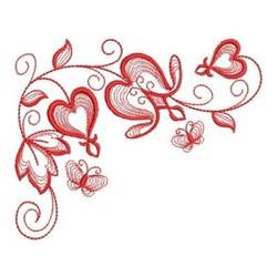 Redwork Floral Corner embroidery design