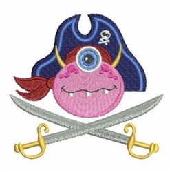 Monster Pirate Head embroidery design