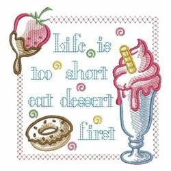 Eat Dessert First Sign embroidery design