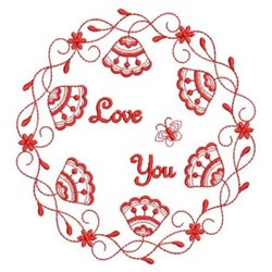 Redwork Love You Flowers embroidery design