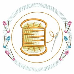 Spool And Safety Pins embroidery design