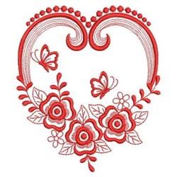 Redwork Heirloom Rose Heart embroidery design
