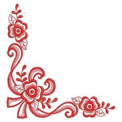 Redwork Heirloom Rose Corner embroidery design