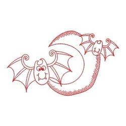 Redwork Halloween Bats embroidery design