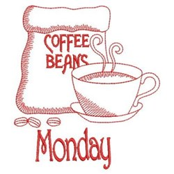 Redwork Coffee Monday embroidery design