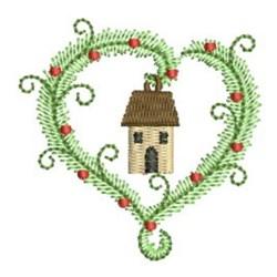 Christmas House Heart embroidery design