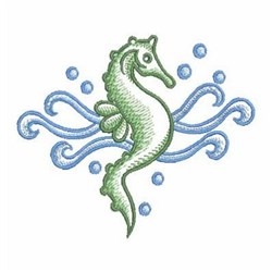 Sketched Green Seahorse embroidery design