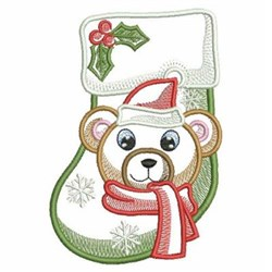 Sketched Bear Stocking embroidery design