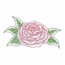 Sketched Camellia embroidery design