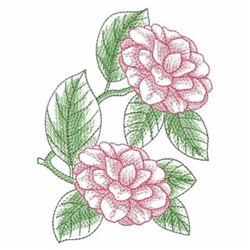 Sketched Camellias embroidery design