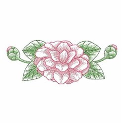 Sketched Camellia Border embroidery design