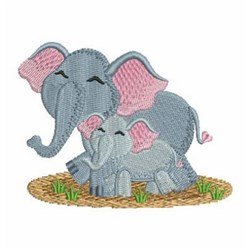 Mom And Baby Elephant embroidery design