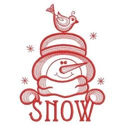 Redwork Snowman & Bird embroidery design