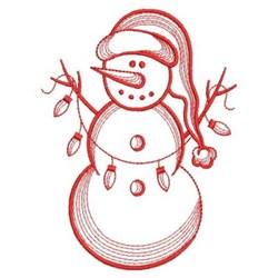 Redwork Xmas Lights Snowman embroidery design