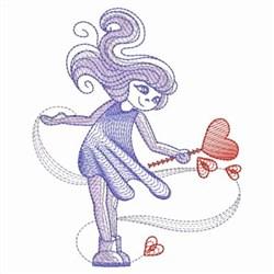 Sketched Valentine Girl embroidery design
