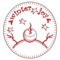 Redwork Primitive Snowmen embroidery design