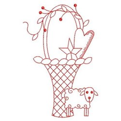 Redwork Country Basket embroidery design