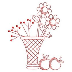 Redwork Country Vase embroidery design