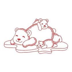 Redwork Polar Bears embroidery design
