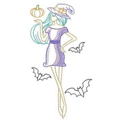 Sketched Holiday Girl embroidery design