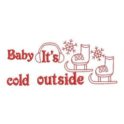 Redwork Its Cold Outside embroidery design