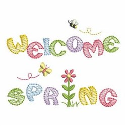 Welcome Spring embroidery design