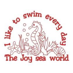 Redwork Seahorses embroidery design