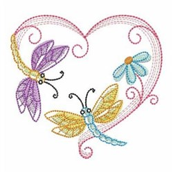 Sketched Dragonfly embroidery design