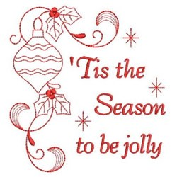 Redwork Holly Jolly Xmas embroidery design