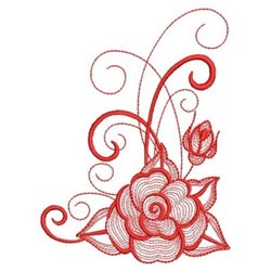 Redwork Rippled Roses embroidery design