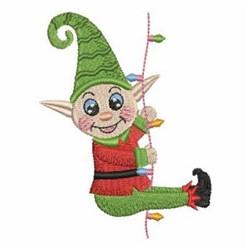 Christmas Lights Elf embroidery design