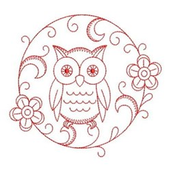 Redwork Owls Circle embroidery design