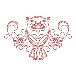 Redwork Flower Owl embroidery design