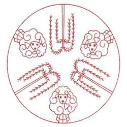 Redwork Sheep Circle embroidery design
