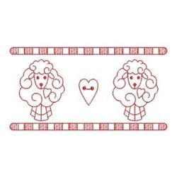 Redwork Sheep Border embroidery design