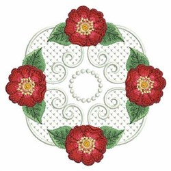 Red Rose Block embroidery design