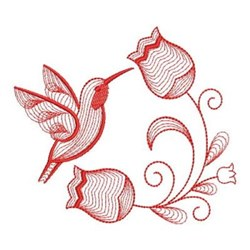 Redwork Hummingbird Tulips embroidery design