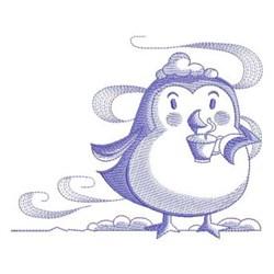 Sketched Penguin embroidery design